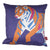 Tiger Cushion Front Blue with Orange Design
