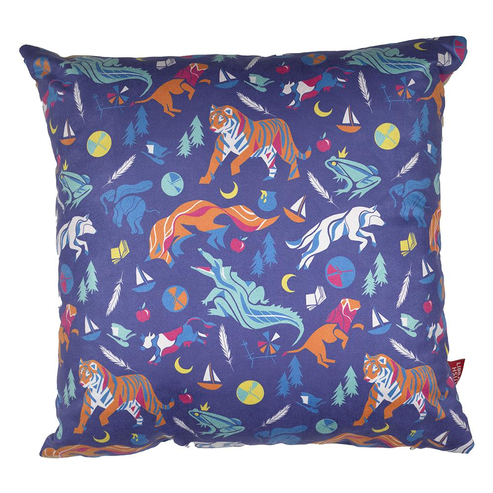 Children's Tales Print Cushion Front Blue with Symbols