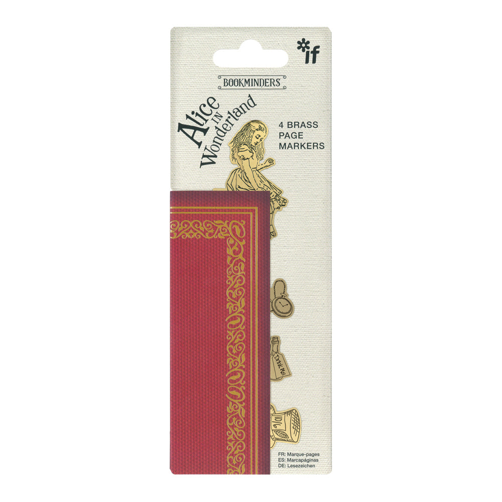 Image of Alice in Wonderland Brass Bookminders in packaging