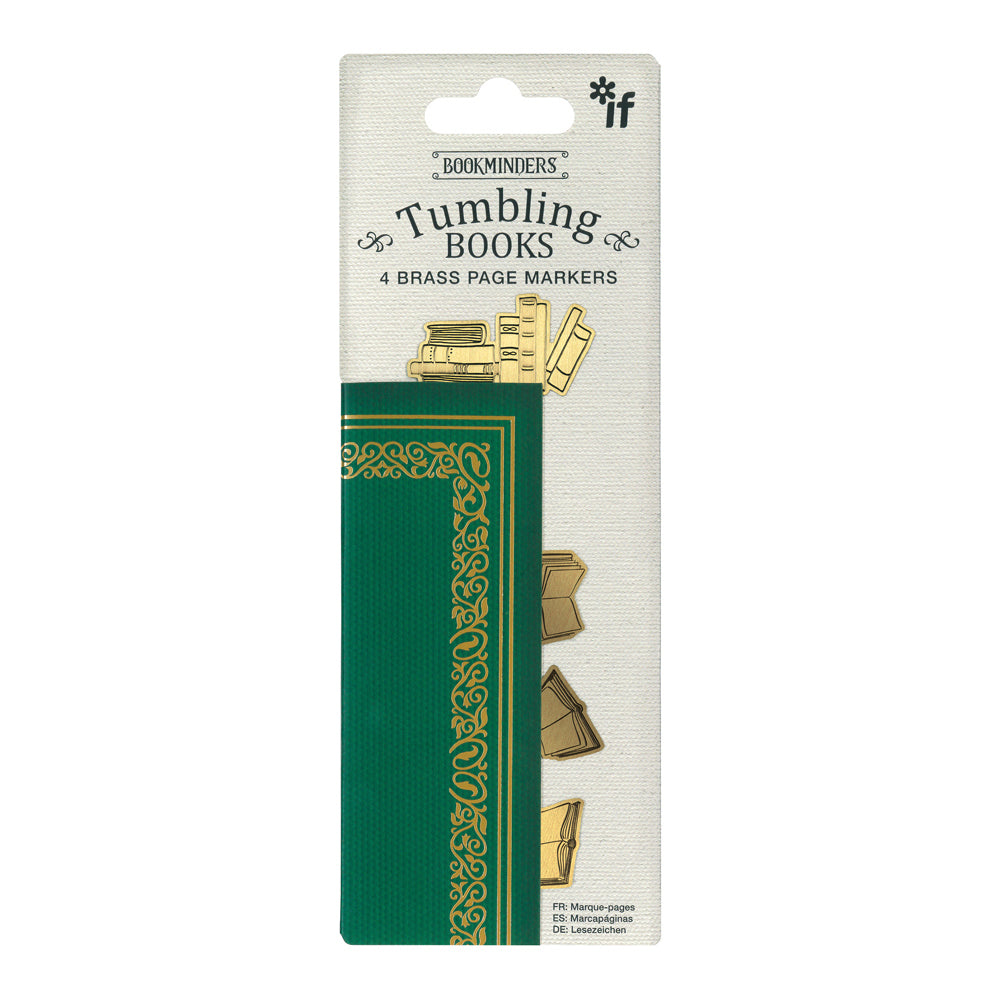 Image of Tumbling Books Brass Bookminders in packaging