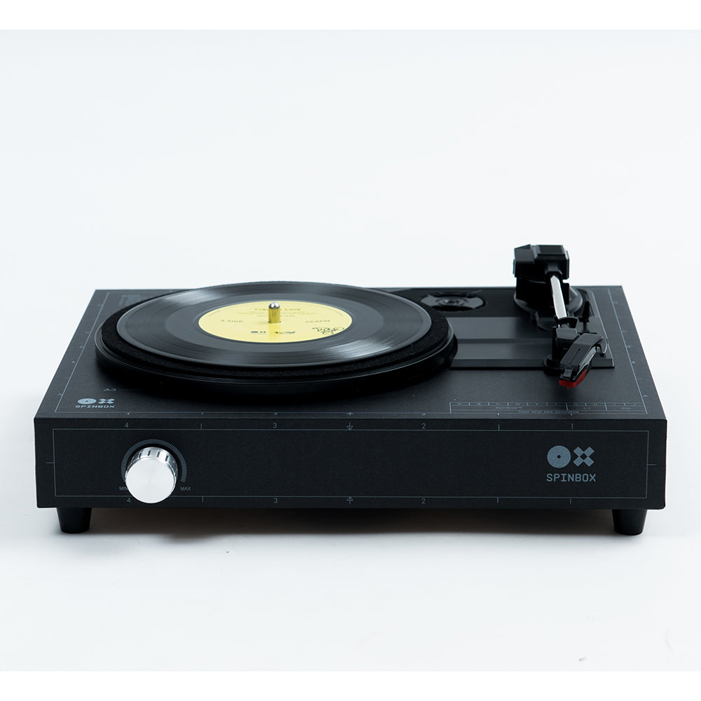 Spinbox DIY Record Player Black Front Angled Image