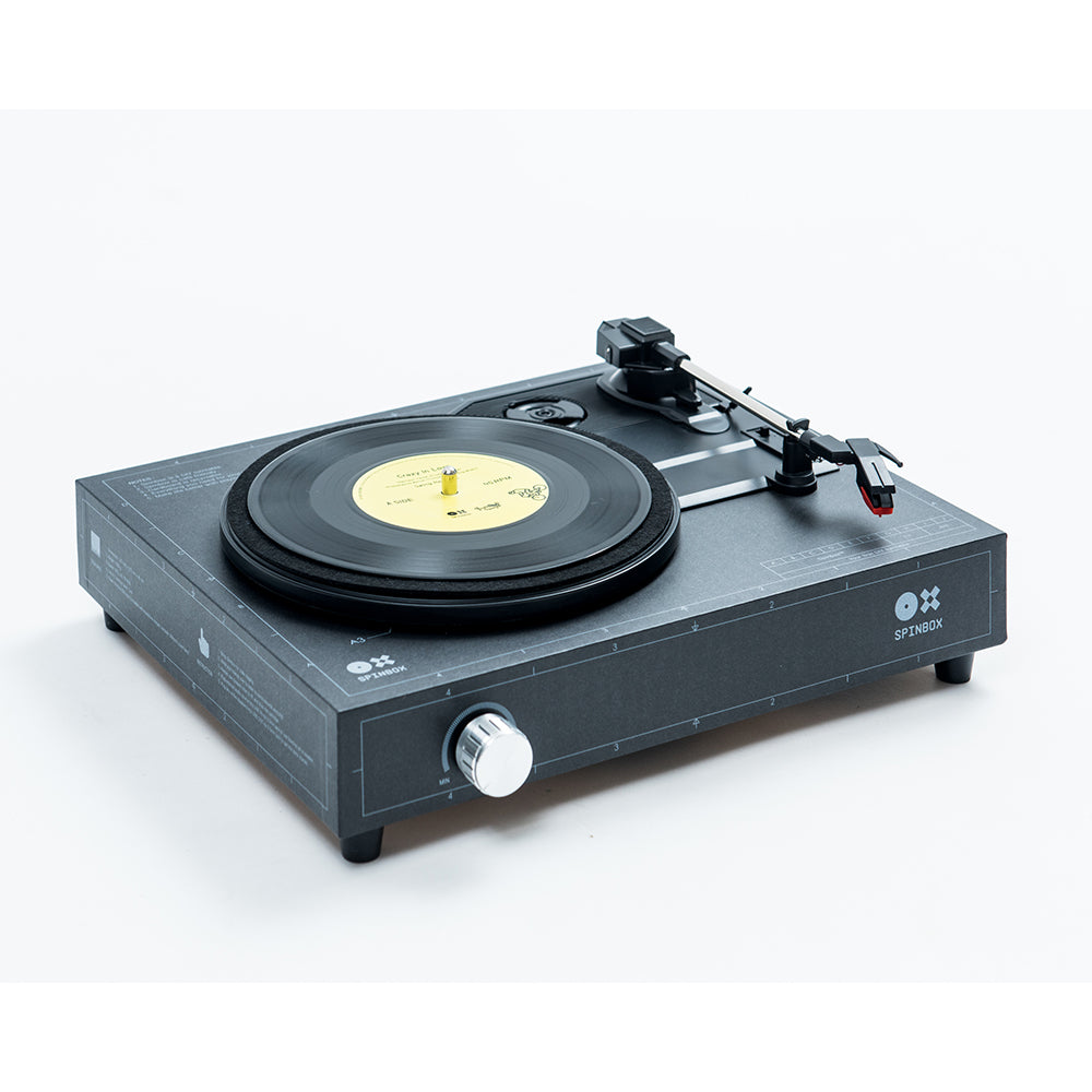 Spinbox DIY Record Player Black Angled Image