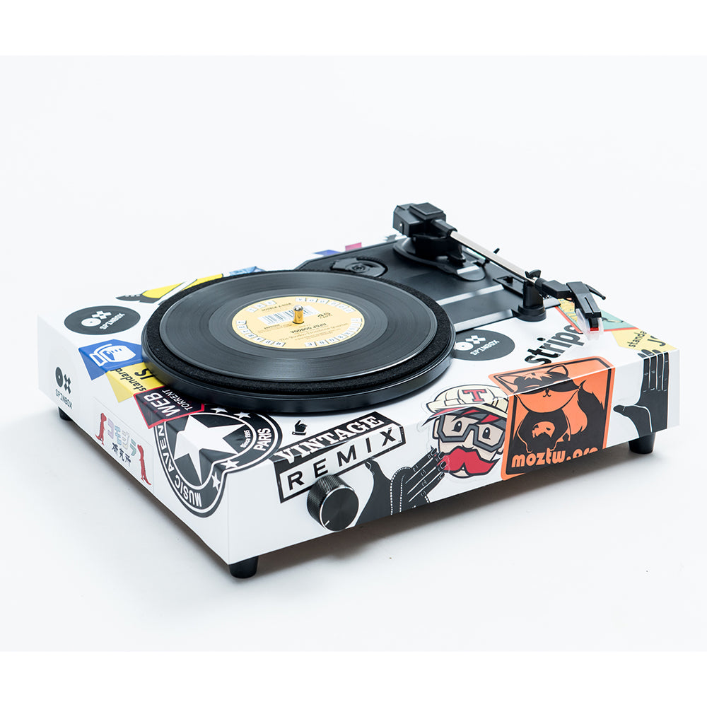 Spinbox DIY Record Player Customised Canvas White Angled Image