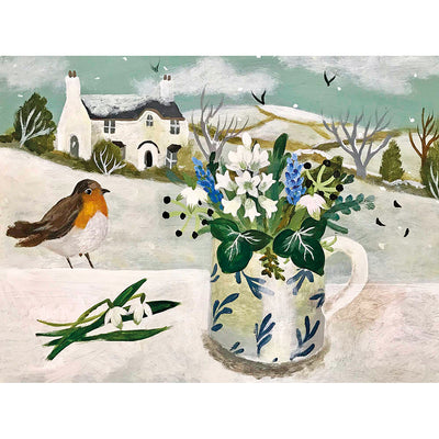 'Robin and Clutch Snowdrops' card design by Sarah Bowman