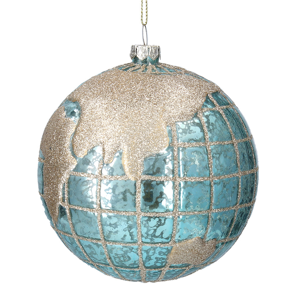Blue and silver sparkly globe deocration