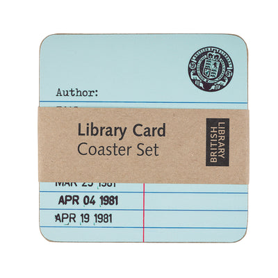 Library Card Coasters in Packaging British Library