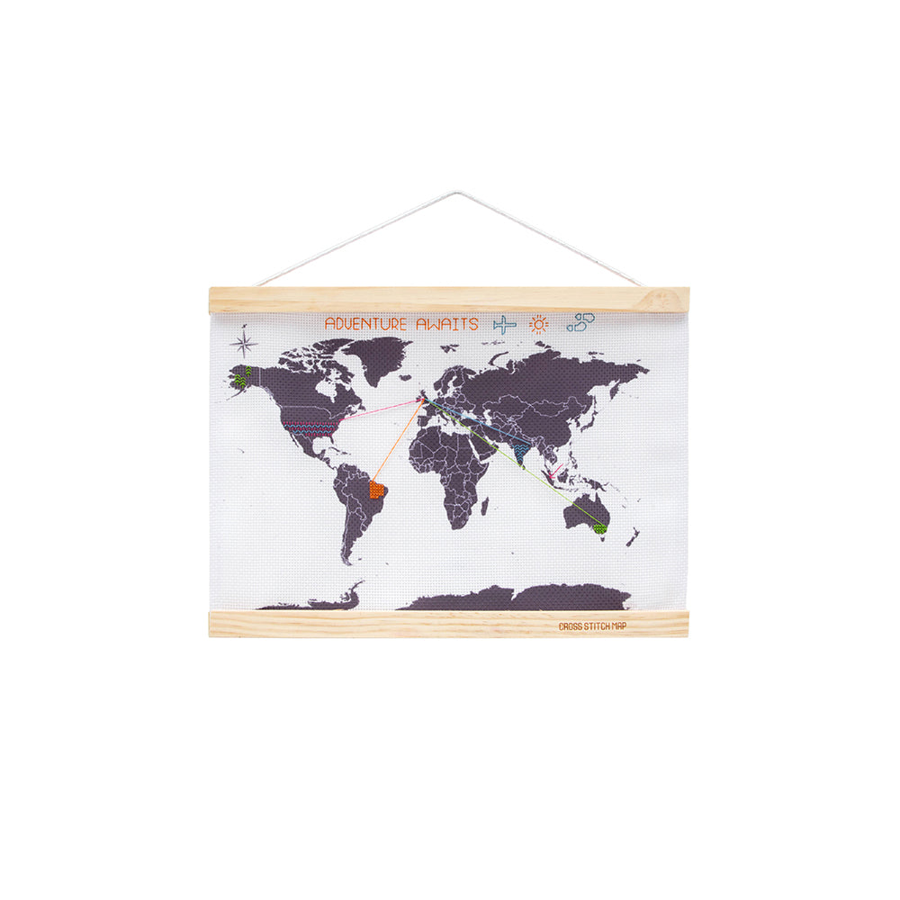 Cross Stitch Map with embroidery on white background