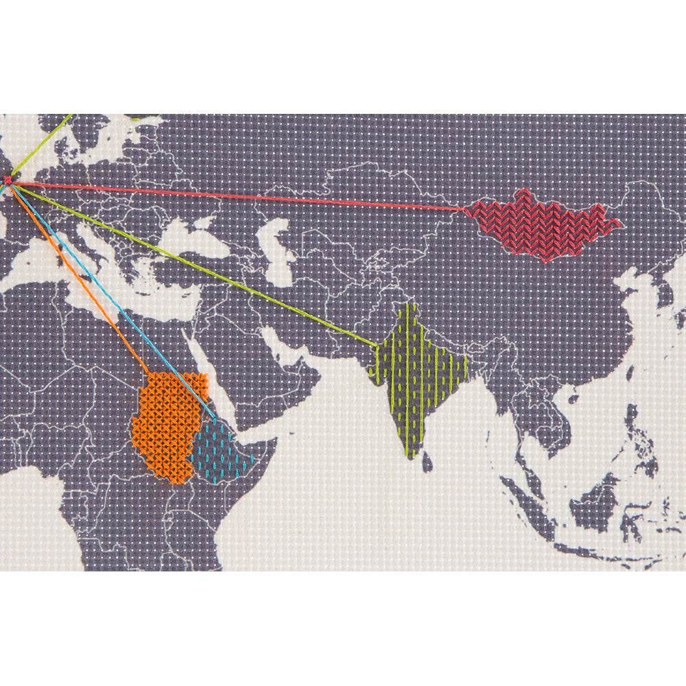 Cross Stitch Map embroidery detail