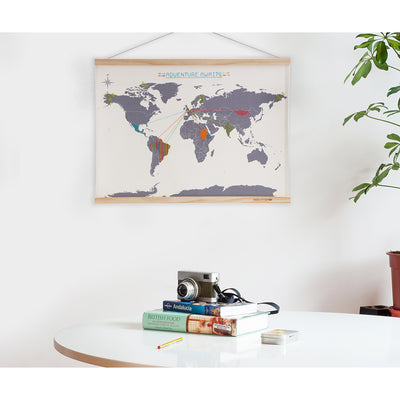 Cross Stitch Map on wall lifestyle shot