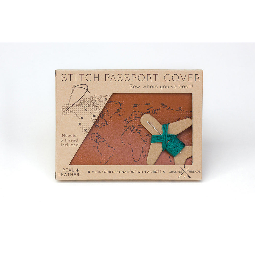 Cross Stitch Passport Cover Brown in Packaging (Front)