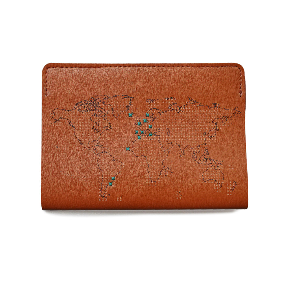 Cross Stitch Passport Cover Brown