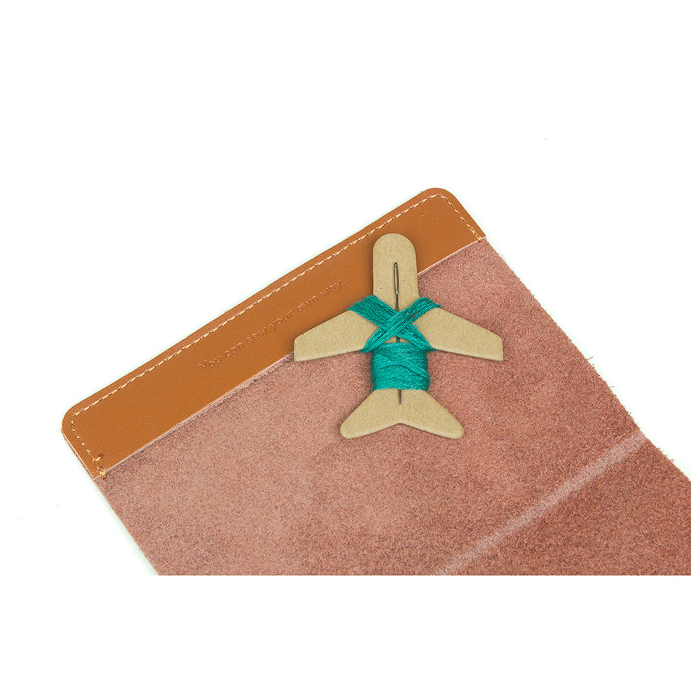 Cross Stitch Passport Cover Brown Inside with 'You can sew your own way...' embossed