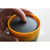 Reusable Coffee Cup 12oz Black/Mustard Lid Closed