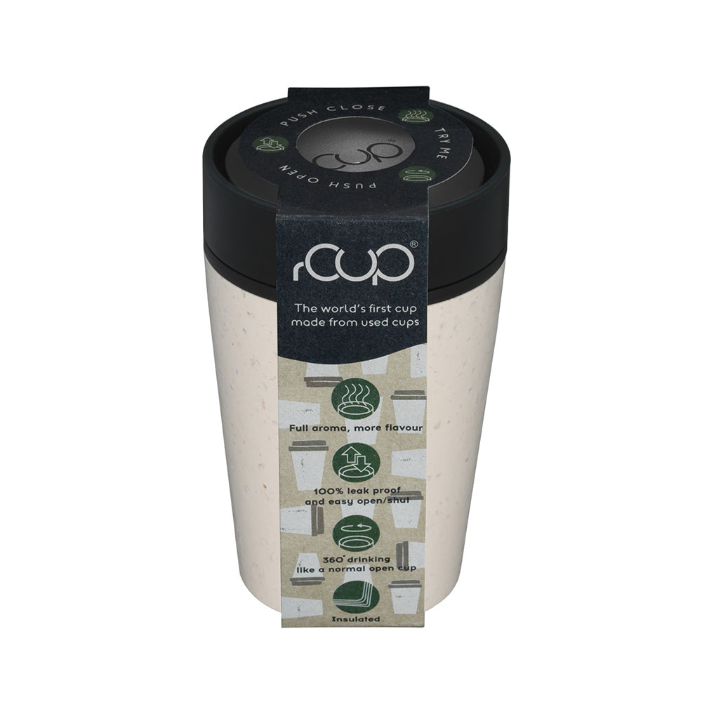 Reusable Coffee Cup 8oz Cream and Black in Packaging