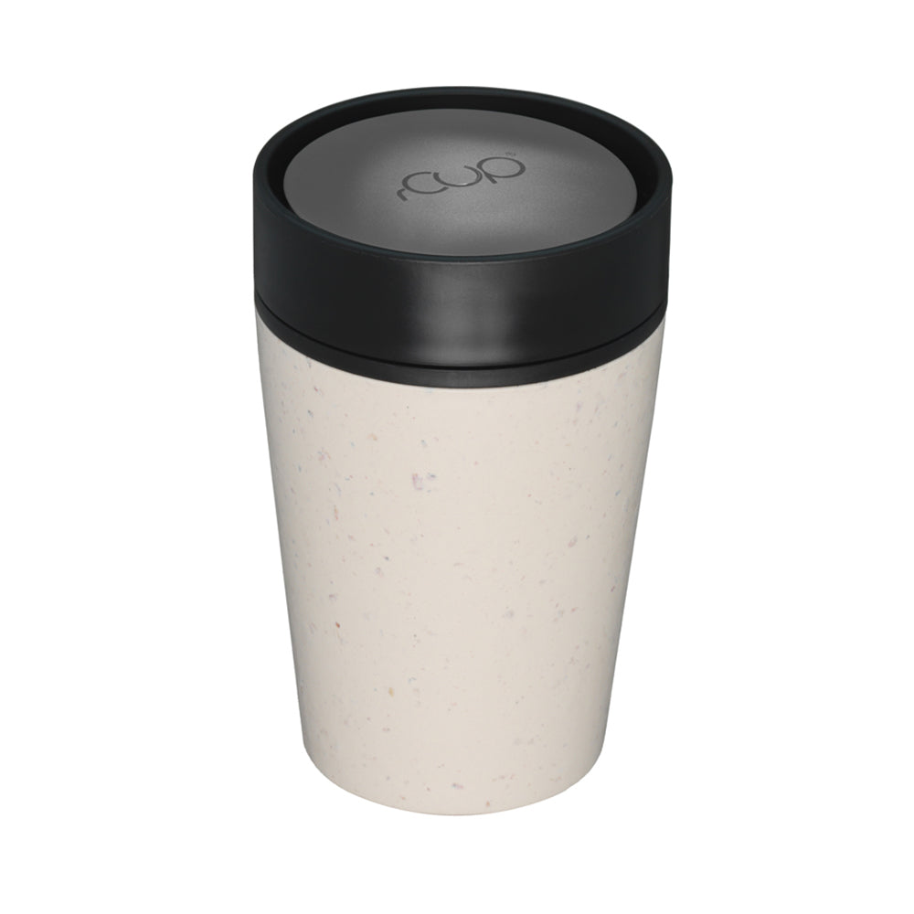Reusable Coffee Cup 8oz Cream and Black full shot