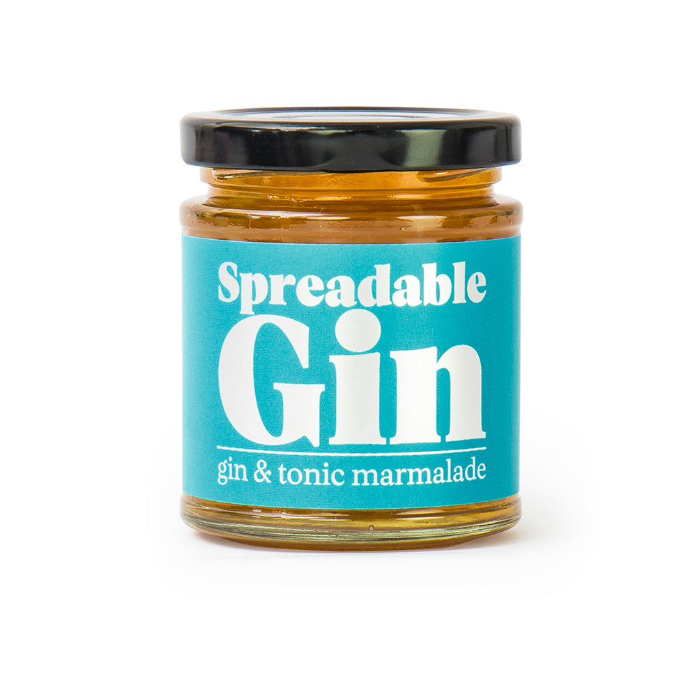 Spreadable Gin in jar on white background