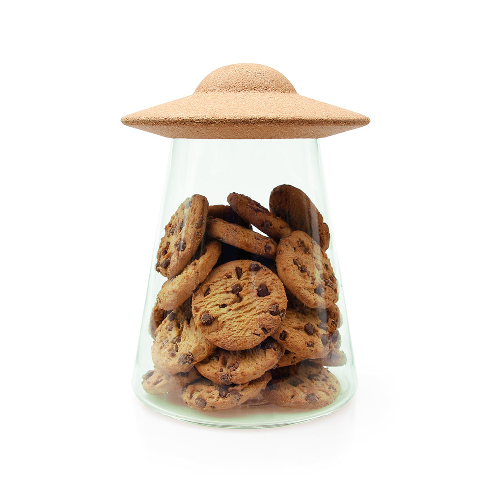 UFO Cookie Jar Alien Cork and Glass Storage