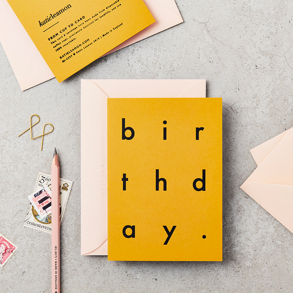 Recycled Birthday Card Mustard Katie Leamon