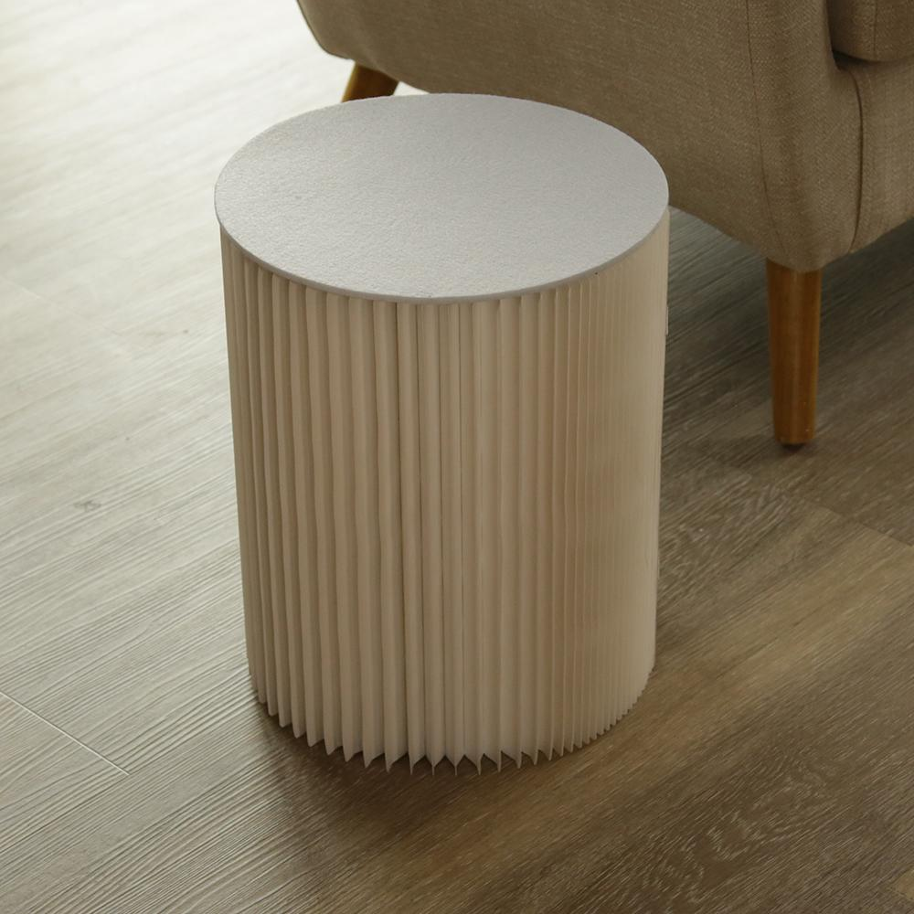 Tall Paper Stool White with Additional Felt Top