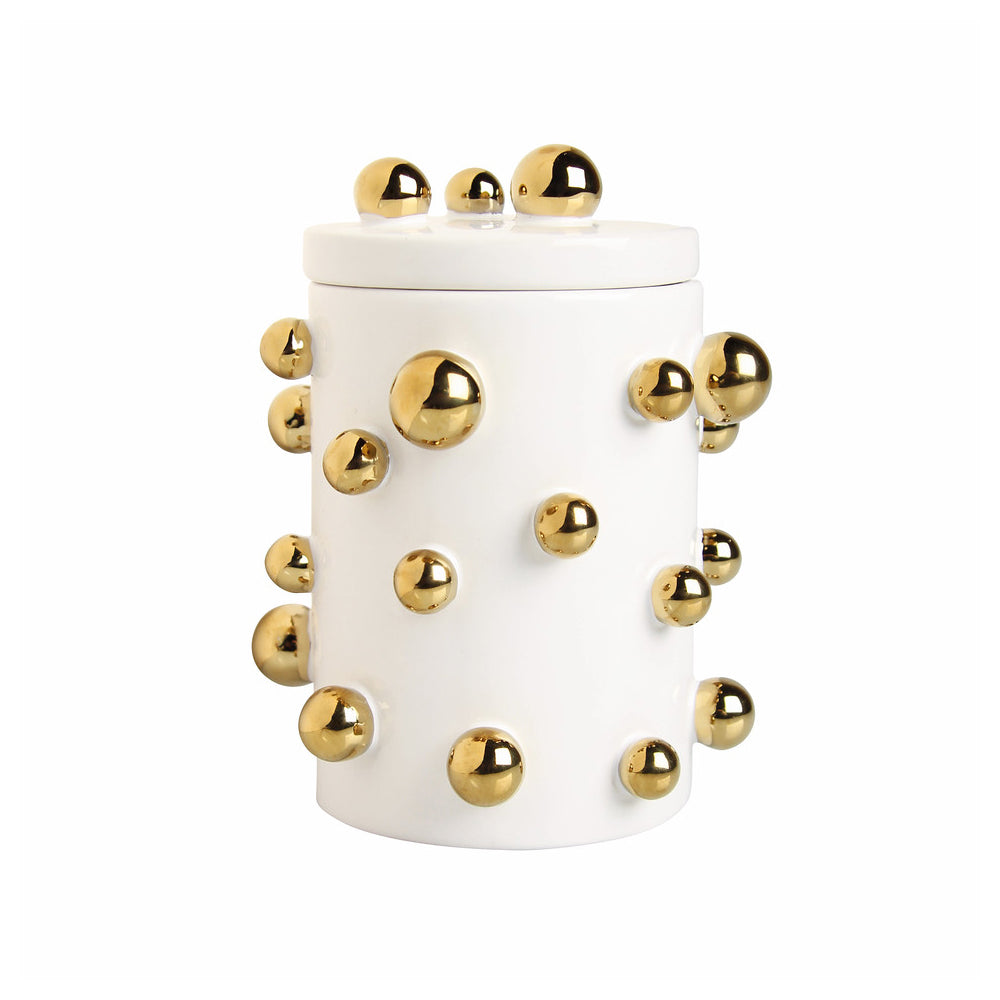 White and Gold Storage Jar Ceramic