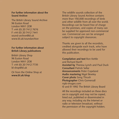 British Bird Sounds CD Booklet Info