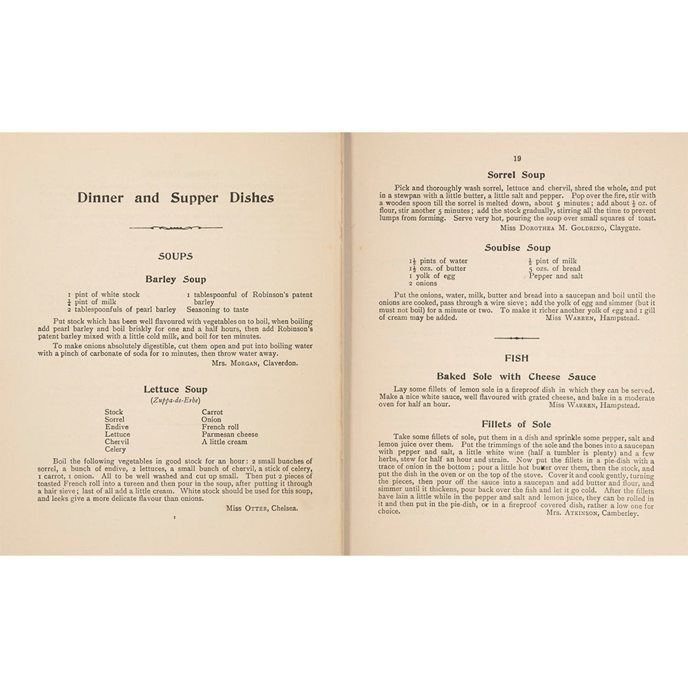 The Women's Suffrage Cookery Book Inside Pages