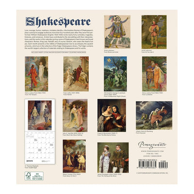 2020 Shakespeare Calendar Back