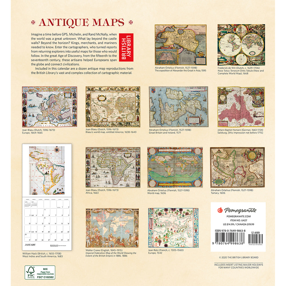 2021 Antique Maps Wall Calendar Back Cover