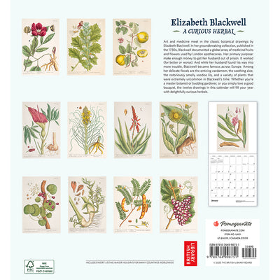 2021 Elizabeth Blackwell: A Curious Herbal Wall Calendar Back Cover