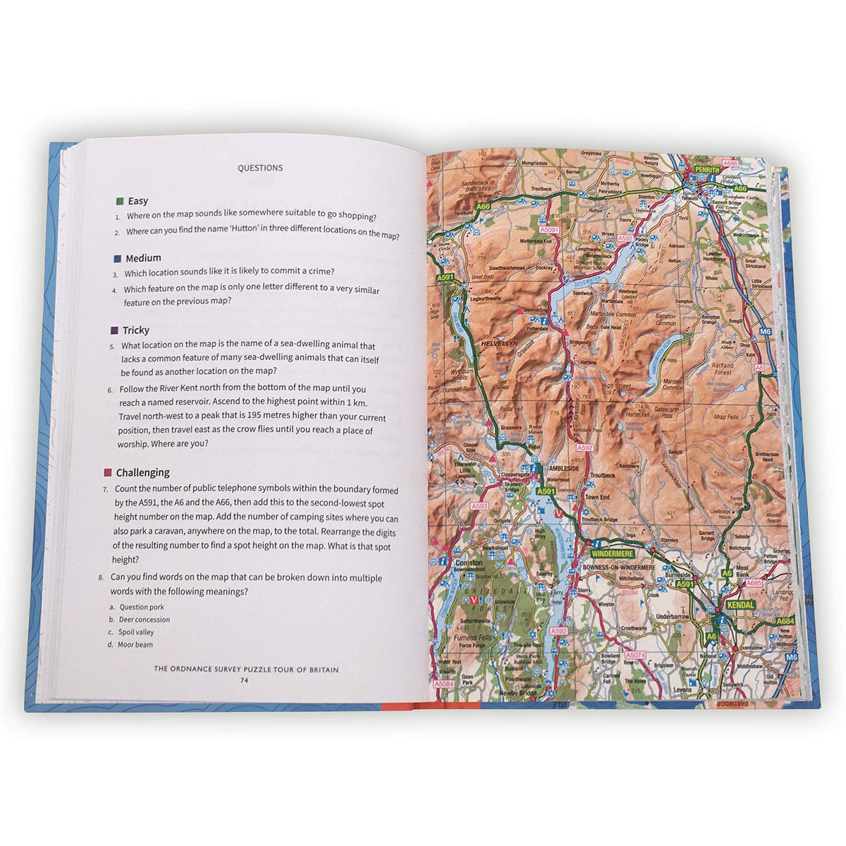 Inside spread of The Ordnance Survey Puzzle Tour of Britain