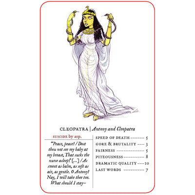 Example card from Great Shakespearean Deaths Card Game featuring Cleopatra