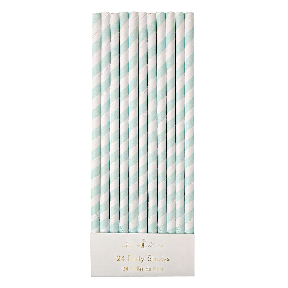 Mint Stripe Straws
