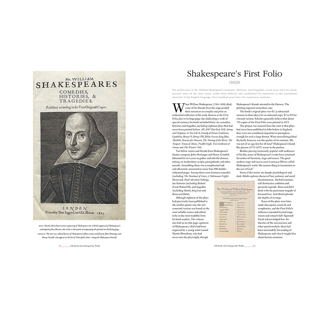 100 Books that Changed the World Hardback Shakespeare Folio Inside