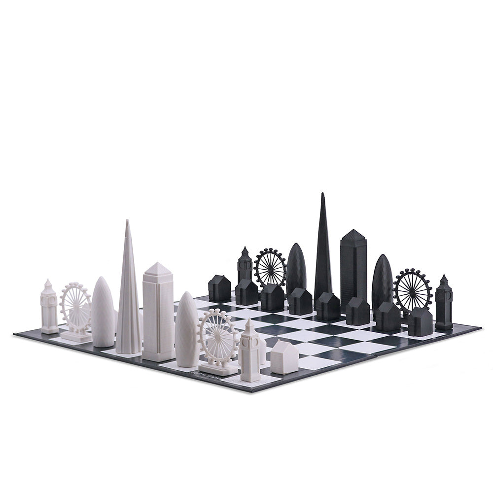 Side view of London Skyline Chess Set with all pieced and board