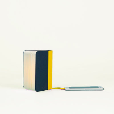 Mini Lumio Lamp Navy and Yellow on white background