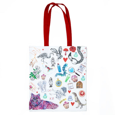 Alice In Wonderland Tote Bag Front with multiple illustrations