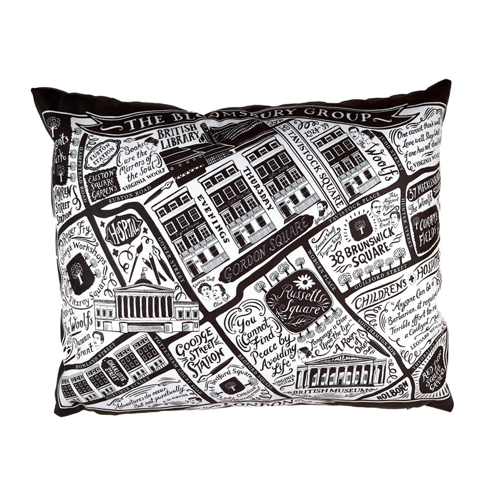 Illustrated Literary London Cushion Full on white background