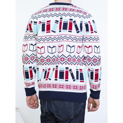 Literary Christmas Jumper on Model Back
