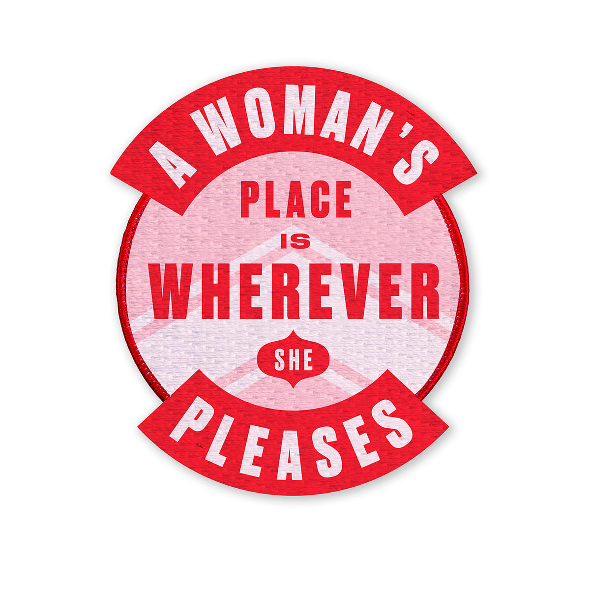 image of a woman's place embroidered patch