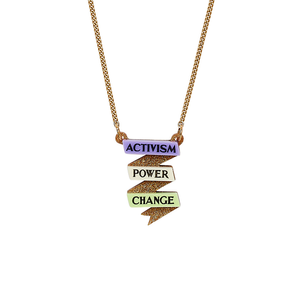 Detailed image of Activism Scroll Necklace