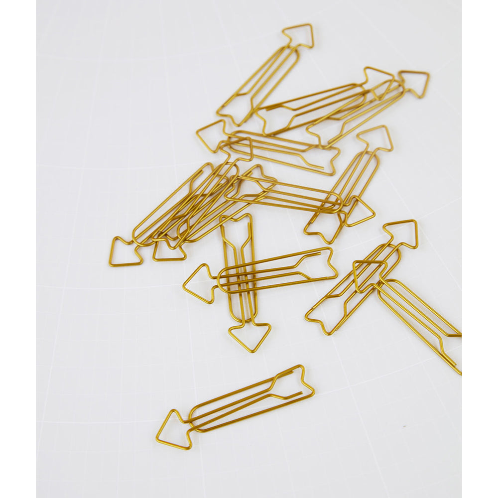 Brass Arrow Clips Set of 16