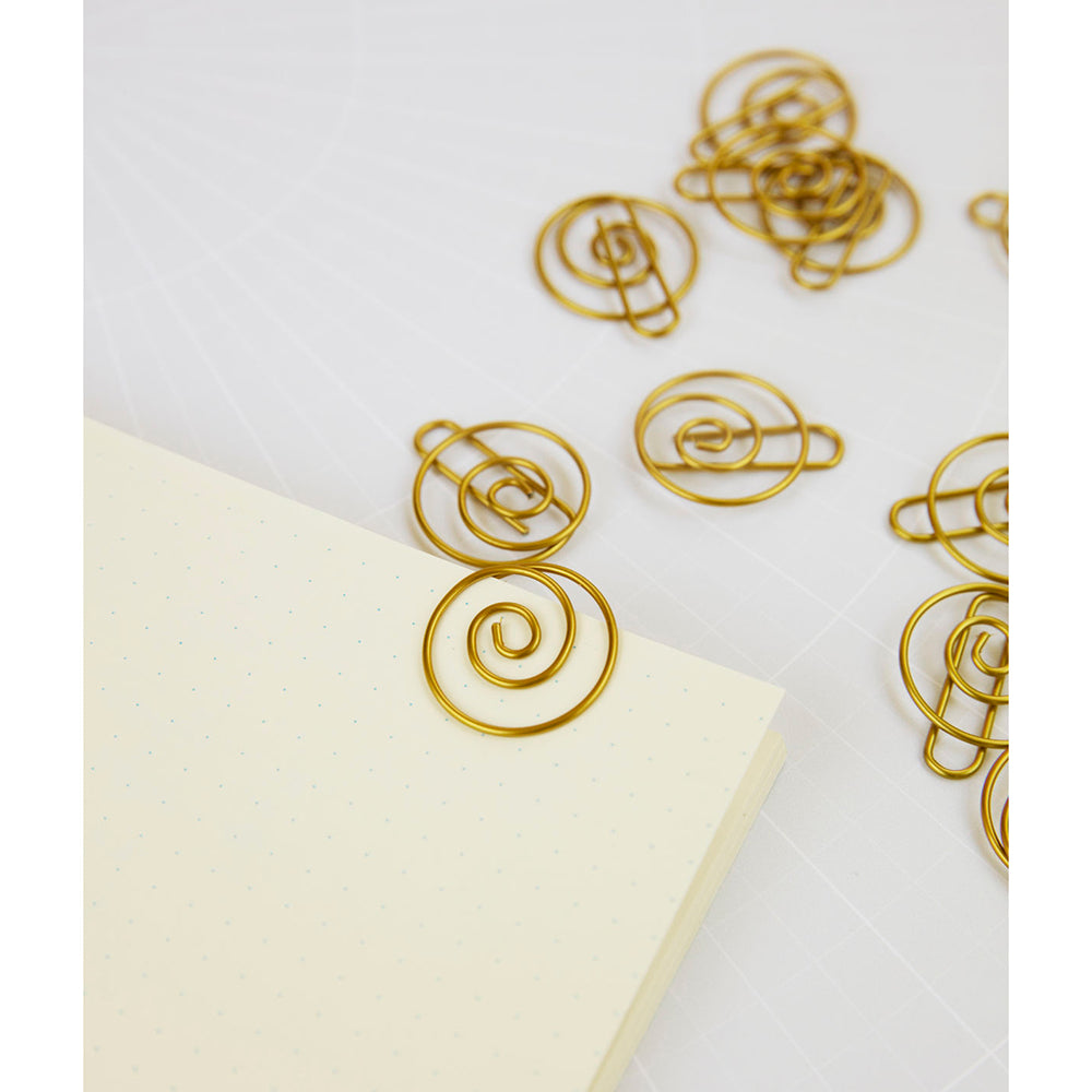 Brass Spiral Clips in use