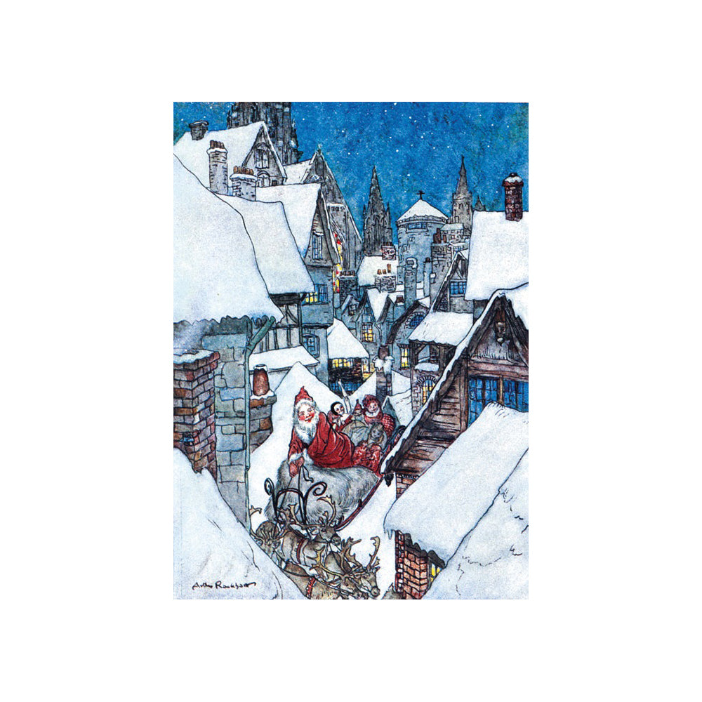 Pack of 8 cards featuring Father Christmas travelling through snowy streets
