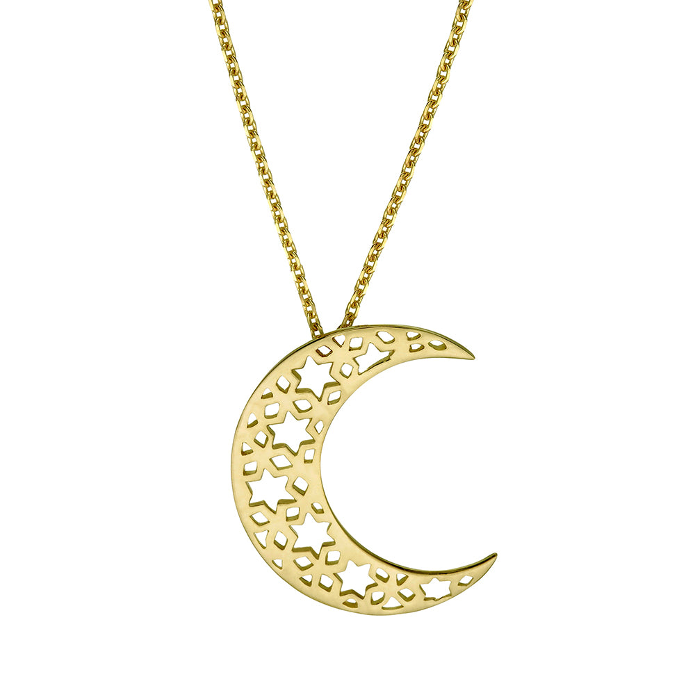 Chandra Moon Necklace Pendant Close Up