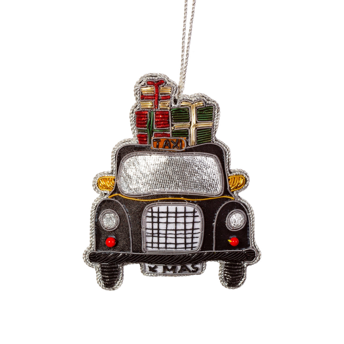 Black cab embroidered decoration