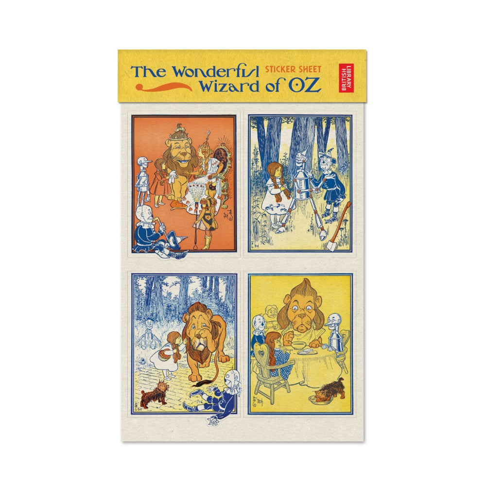 A 2 sheet sticker set, featuring some of the best known scenes from the original facsimile of The Wonderful Wizard of Oz with illustrations by W. W. Denslow from 1900.