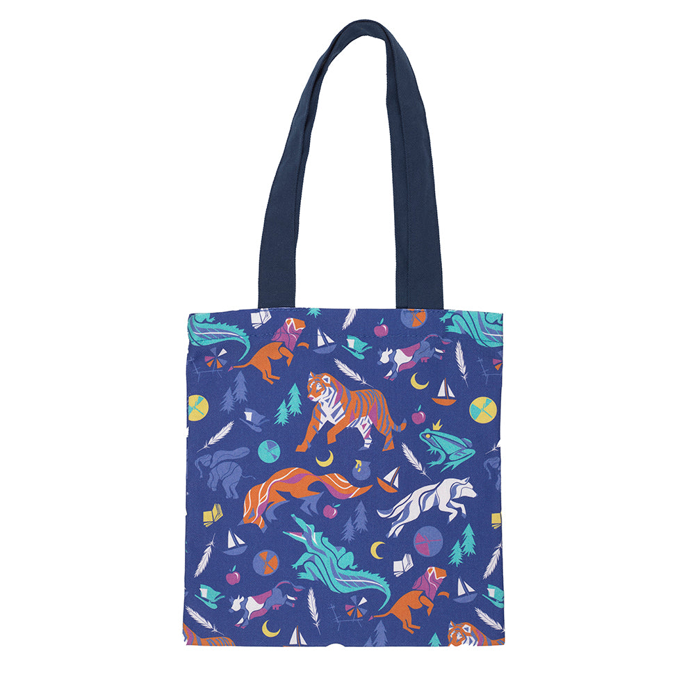 Children's Tales Small Tote Bag Blue with Symbols