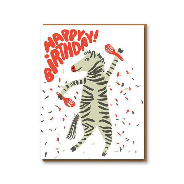 Party Zebra Happy Birthday Card 1973