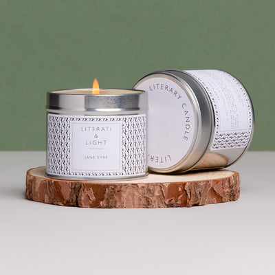 Jane Eyre Candle lifestyle shot on green and wood