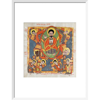 Christ in Glory print in white frame